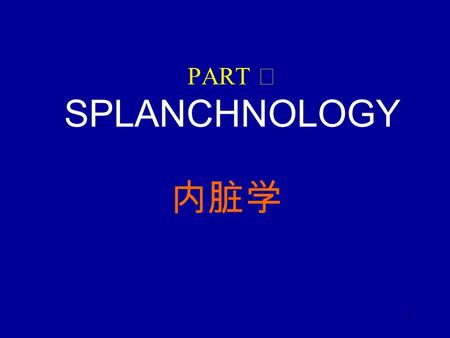 1 PART Ⅱ SPLANCHNOLOGY 内脏学. 2 Chapter 1 General description 总 论 Splanchnology includes alimentary system 消化系统, respiratory system 呼吸系统, urinary system.