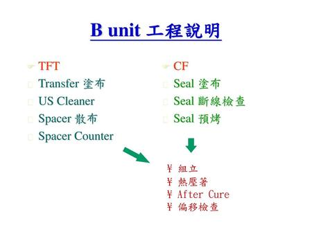B unit 工程說明 TFT Transfer 塗布 US Cleaner Spacer 散布 Spacer Counter CF