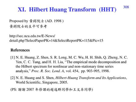 XI. Hilbert Huang Transform (HHT)