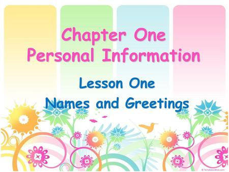 Chapter One Personal Information