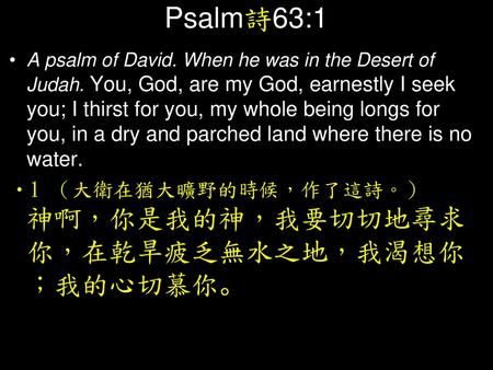 Psalm詩63:1 A psalm of David. When he was in the Desert of Judah. You, God, are my God, earnestly I seek you; I thirst for you, my whole being longs for.