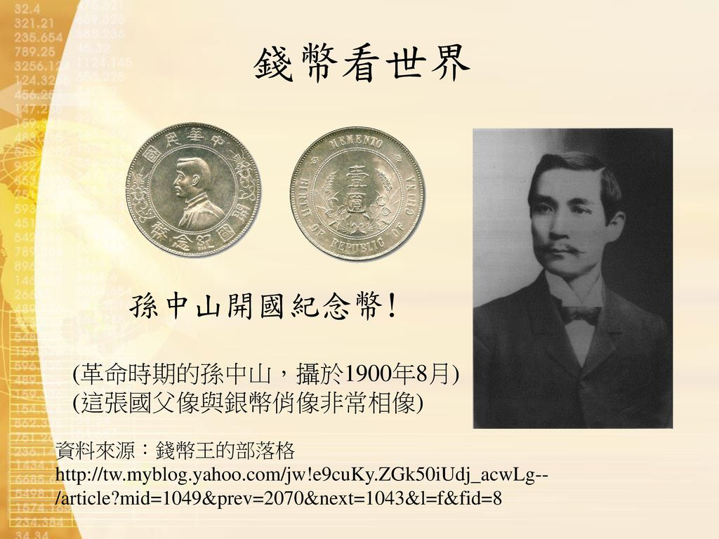 錢幣看世界 孫中山開國紀念幣! (革命時期的孫中山,攝於1900年8月) (這張國父像與銀幣俏像非常相像) 資料來源:錢幣王的部落格