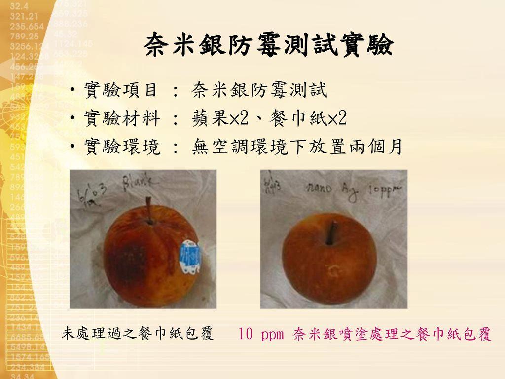 奈米銀防霉測試實驗 實驗項目 : 奈米銀防霉測試 實驗材料 : 蘋果×2、餐巾紙×2 實驗環境 : 無空調環境下放置兩個月