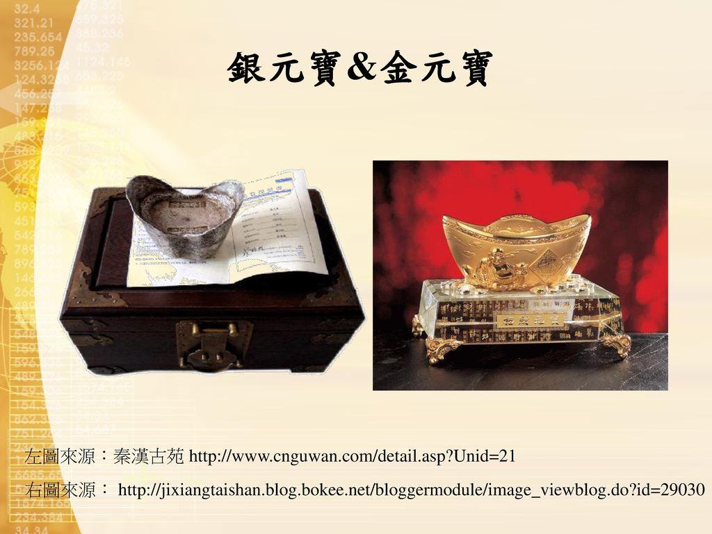銀元寶&金元寶 左圖來源:秦漢古苑 http://www.cnguwan.com/detail.asp Unid=21