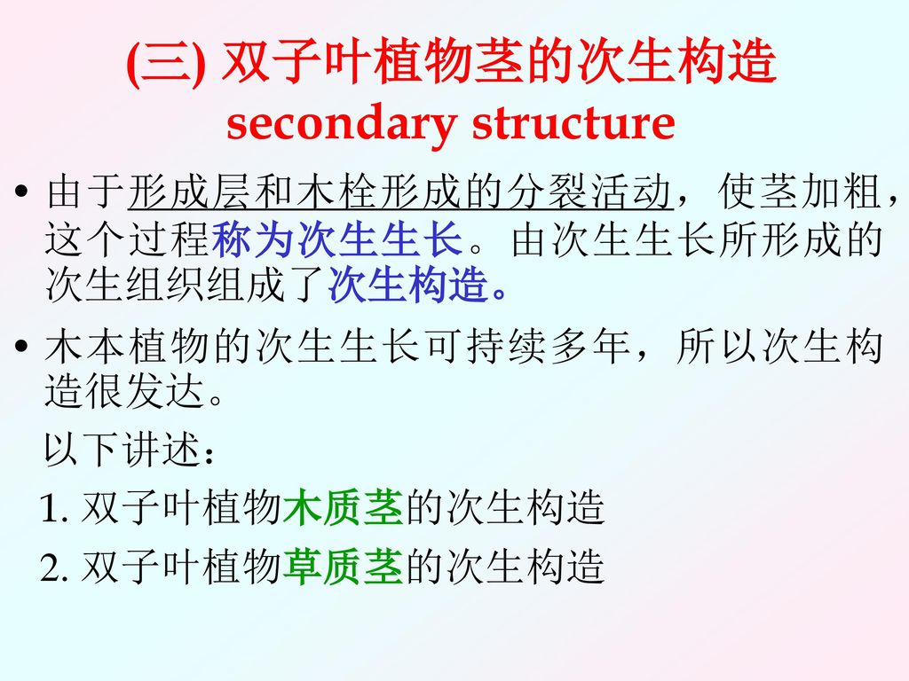 (三) 双子叶植物茎的次生构造secondary structure