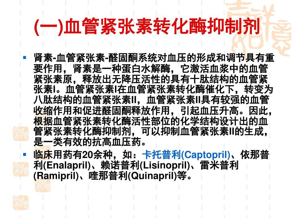RAAS 血管紧张素转化酶抑制剂(Angiotensin converting enzyme inhibitor,ACEI)、