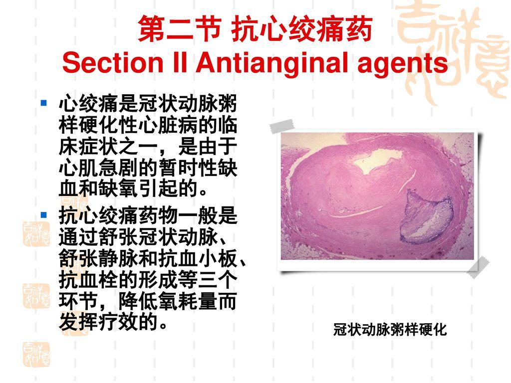 第二节 抗心绞痛药 Section II Antianginal agents