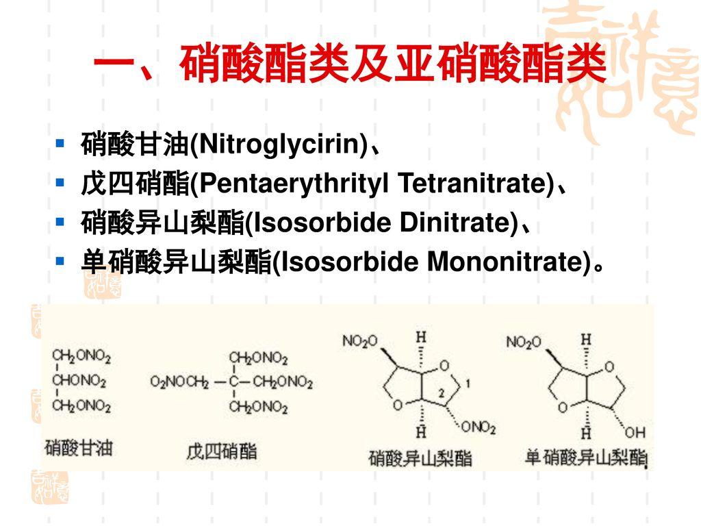 一、硝酸酯类及亚硝酸酯类 硝酸甘油(Nitroglycirin)、 戊四硝酯(Pentaerythrityl Tetranitrate)、