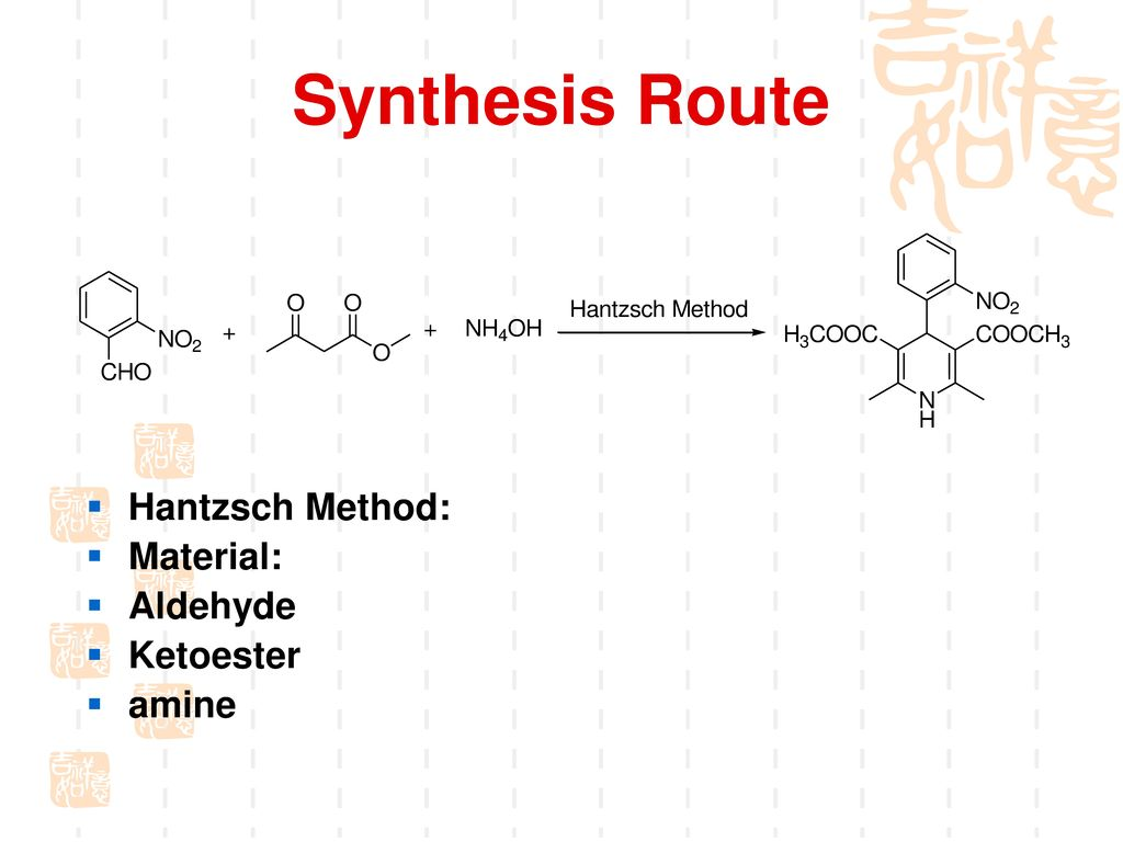 Synthesis Route Hantzsch Method: Material: Aldehyde Ketoester amine