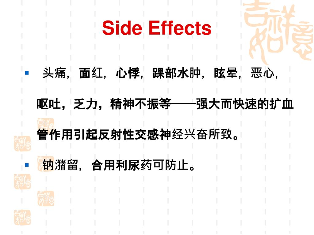 Side Effects 头痛,面红,心悸,踝部水肿,眩晕,恶心, 呕吐,乏力,精神不振等——强大而快速的扩血