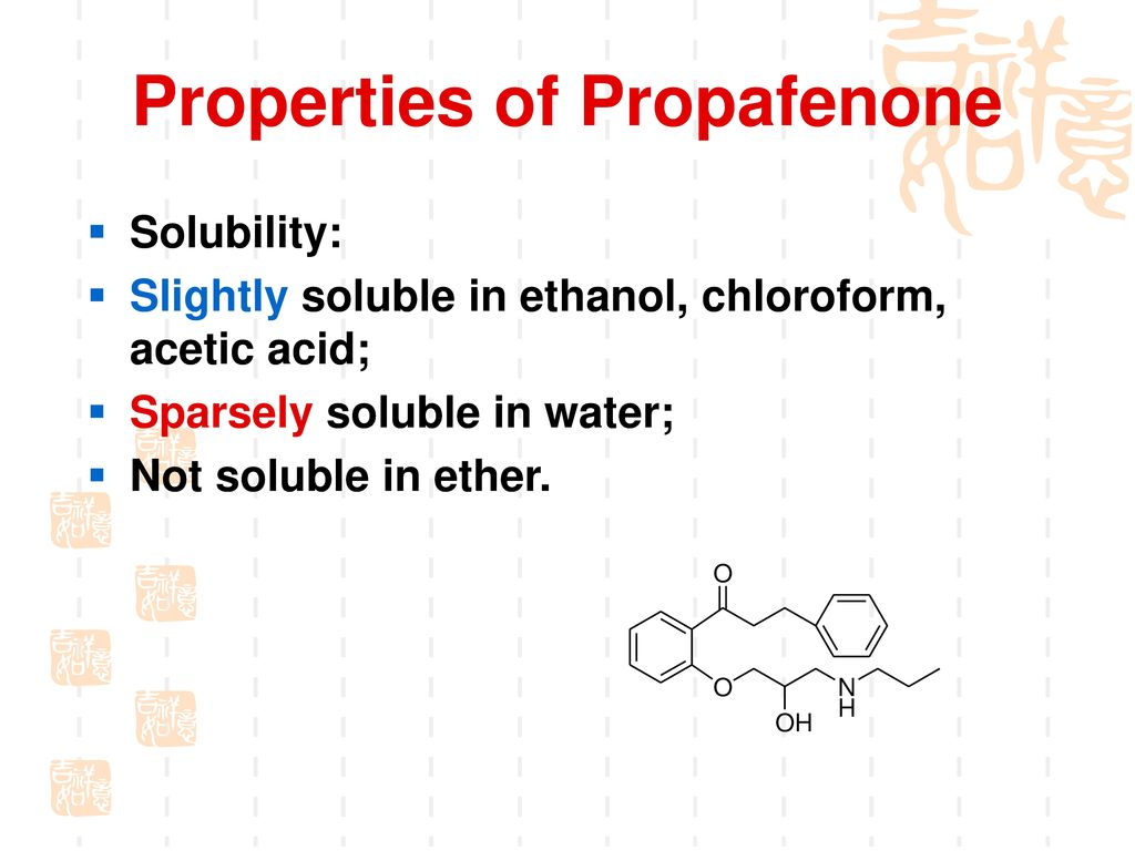 Materials analysis of Propafenone