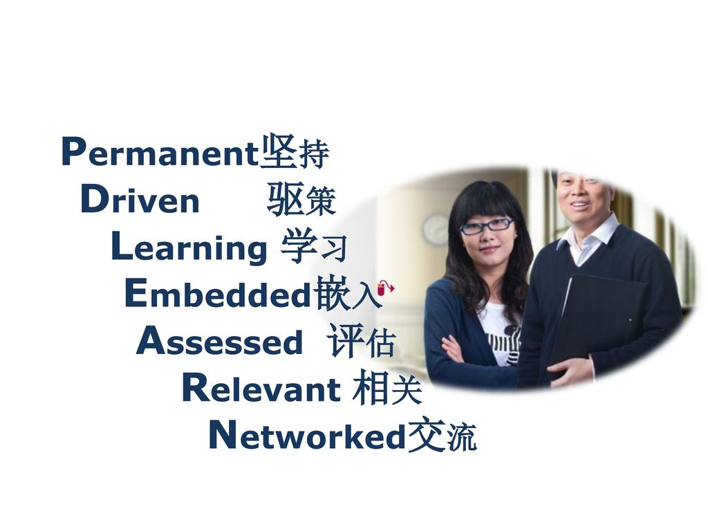 Permanent坚持 Driven 驱策 Learning 学习 Embedded嵌入 Assessed 评估 Relevant 相关