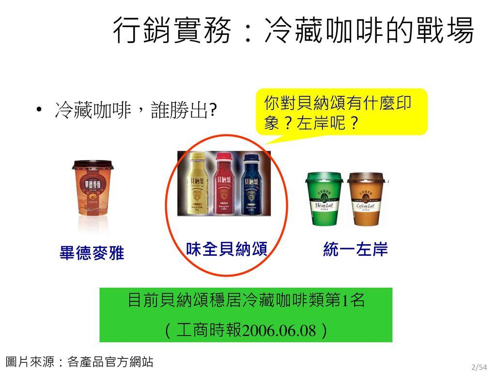 行銷實務:冷藏咖啡的戰場 冷藏咖啡,誰勝出 你對貝納頌有什麼印象?左岸呢? 味全貝納頌 統一左岸 畢德麥雅 目前貝納頌穩居冷藏咖啡類第1名