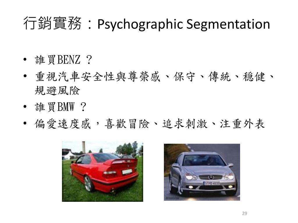 行銷實務:Psychographic Segmentation