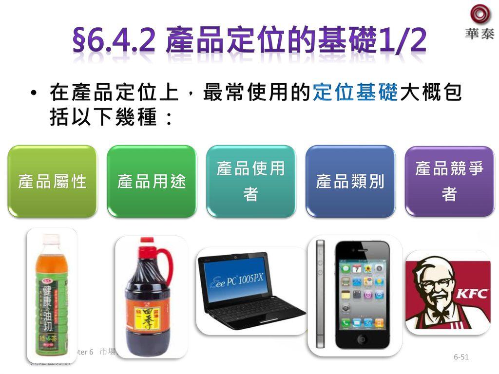 §6.4.2 產品定位的基礎1/2 在產品定位上,最常使用的定位基礎大概包括以下幾種: 產品屬性 產品用途 產品使用者 產品類別 產品競爭者