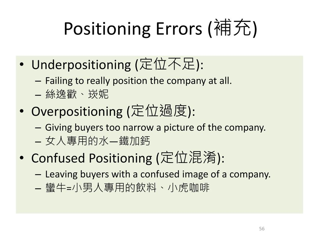 Positioning Errors (補充)
