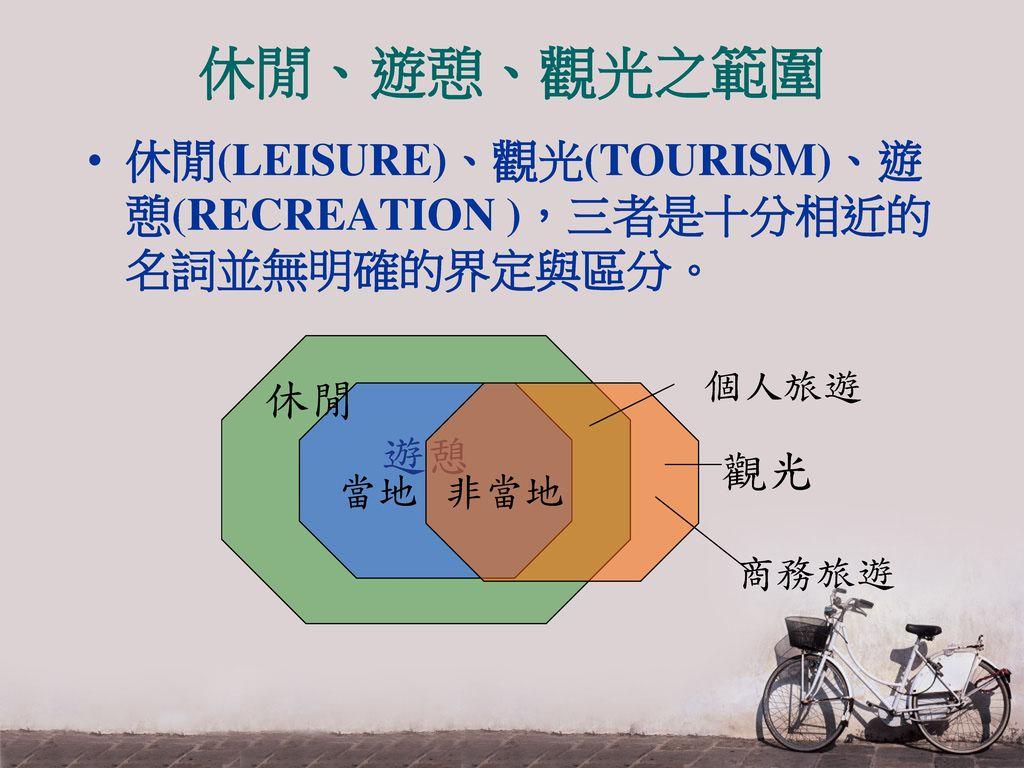休閒、遊憩、觀光之範圍 休閒(LEISURE)、觀光(TOURISM)、遊憩(RECREATION ),三者是十分相近的名詞並無明確的界定與區分。 遊憩 休閒 觀光 當地 非當地 個人旅遊 商務旅遊