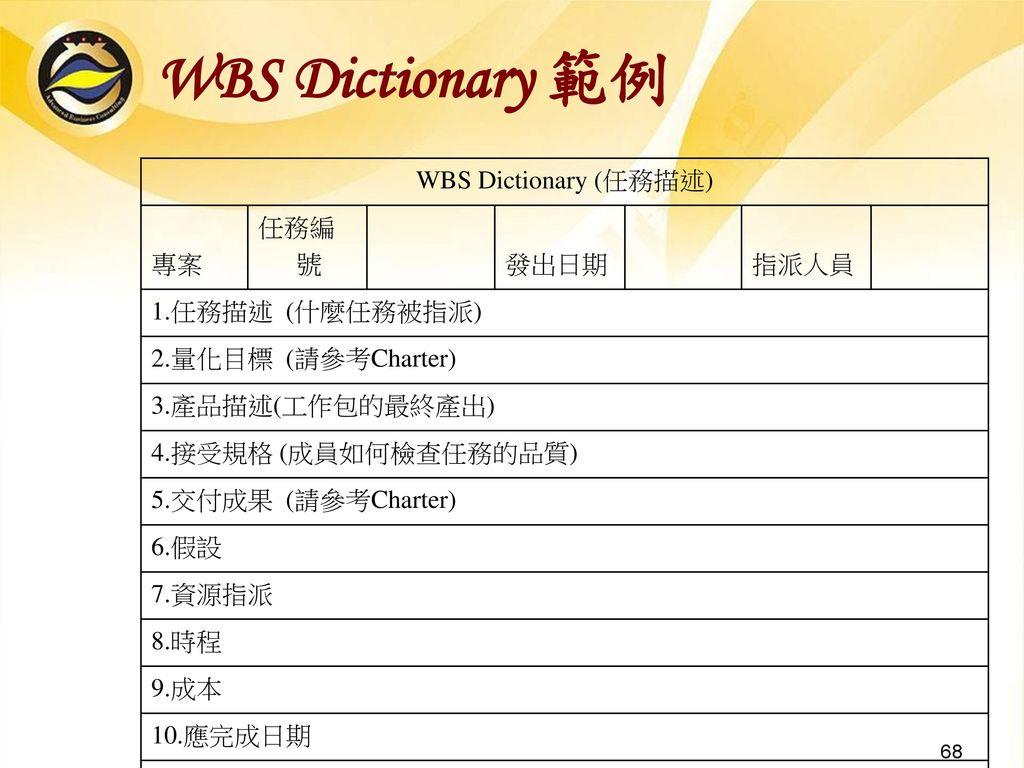 WBS Dictionary 範例 WBS Dictionary (任務描述) 專案 任務編號 發出日期 指派人員