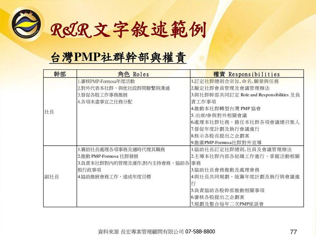 R&R 文字敘述範例 台灣PMP社群幹部與權責 資料來源 長宏專案管理顧問有限公司 07-588-8800