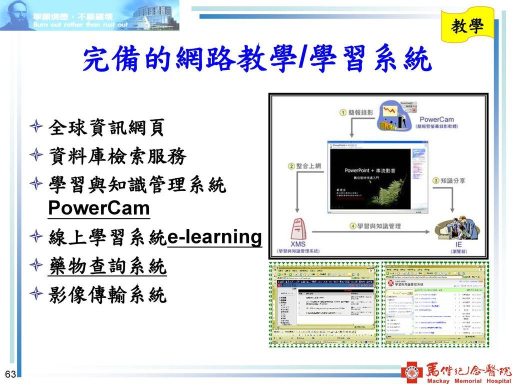 完備的網路教學/學習系統 全球資訊網頁 資料庫檢索服務 學習與知識管理系統PowerCam 線上學習系統e-learning 藥物查詢系統