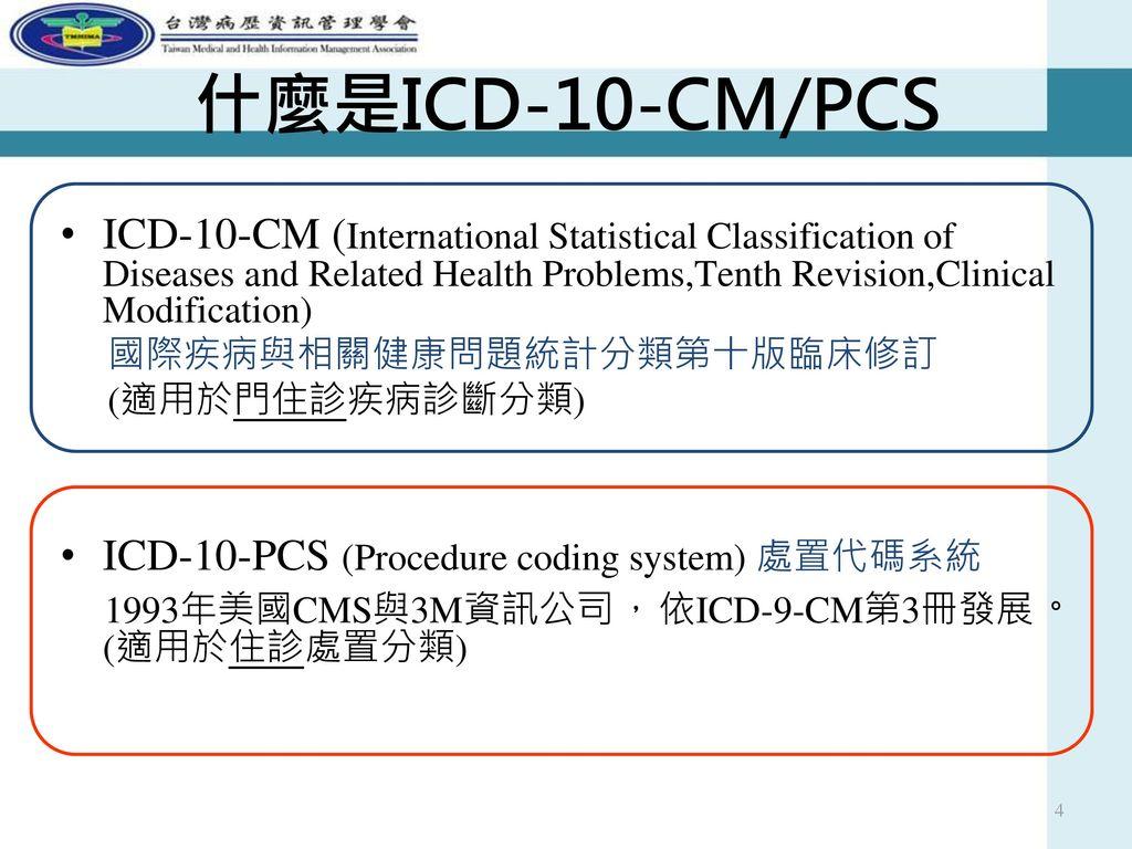 什麼是ICD-10-CM/PCS ICD-10-CM (International Statistical Classification of Diseases and Related Health Problems,Tenth Revision,Clinical Modification)