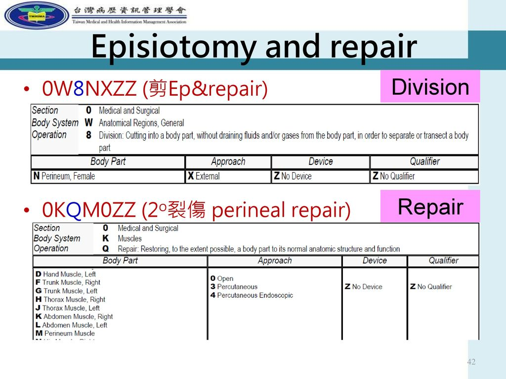 Episiotomy and repair Division Repair 0W8NXZZ (剪Ep&repair)
