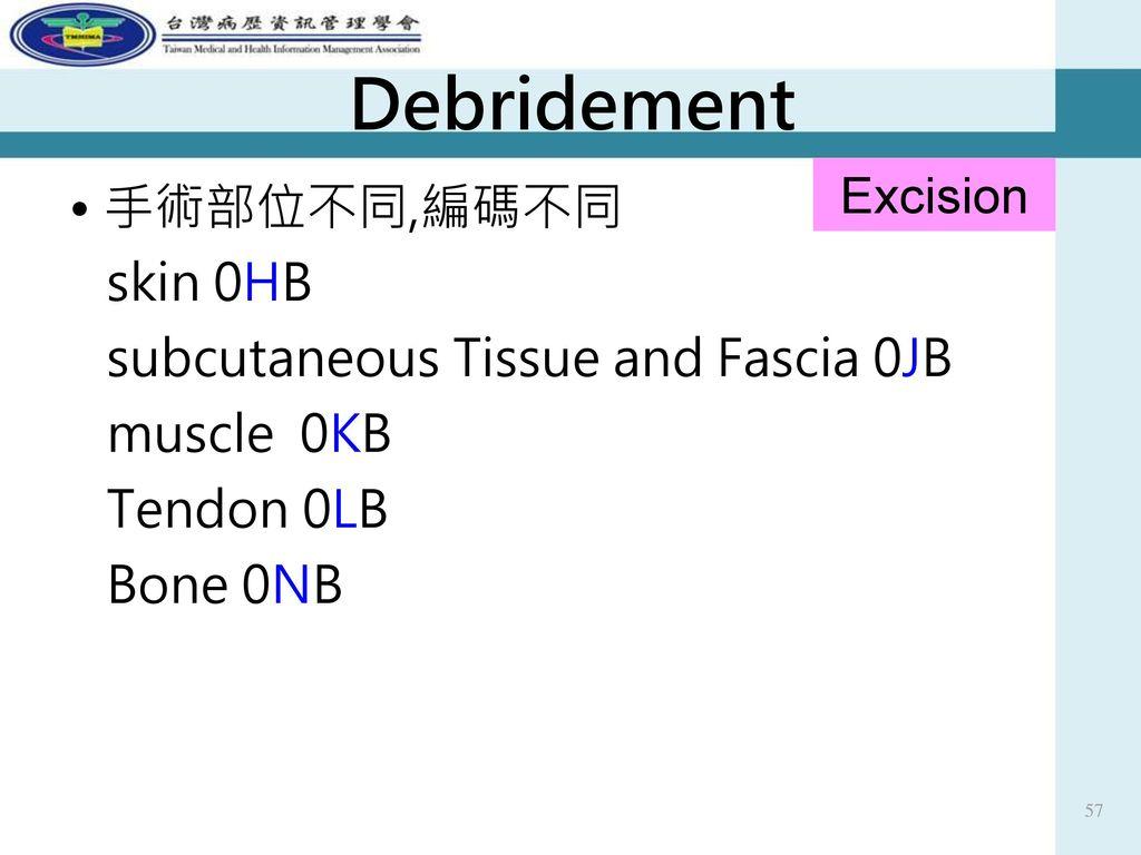 Debridement Excision. • 手術部位不同,編碼不同 skin 0HB subcutaneous Tissue and Fascia 0JB muscle 0KB Tendon 0LB Bone 0NB