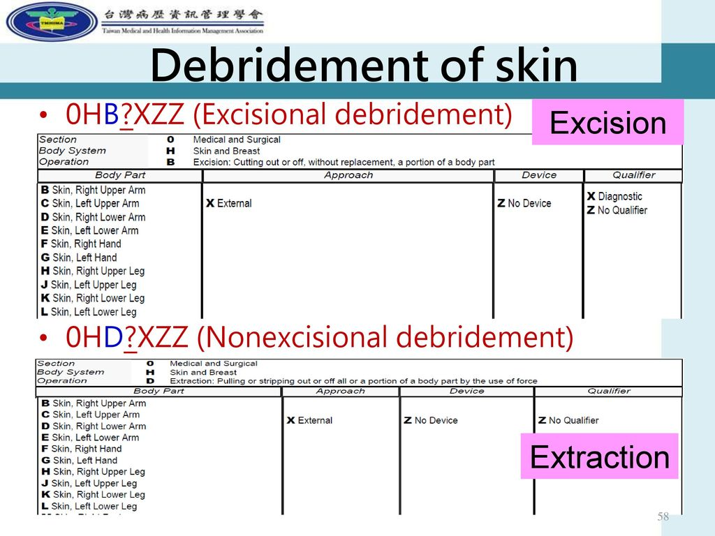Debridement of skin Excision Extraction