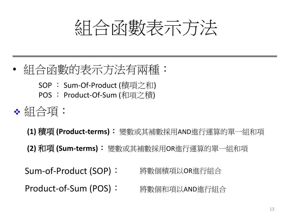 組合函數表示方法 組合函數的表示方法有兩種: 組合項: Sum-of-Product (SOP):