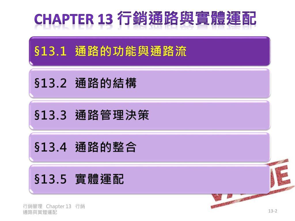 Chapter 13 行銷通路與實體運配 §13.1 通路的功能與通路流 §13.2 通路的結構 §13.3 通路管理決策
