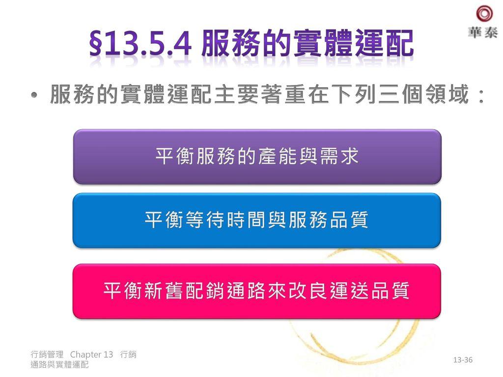 §13.5.4 服務的實體運配 服務的實體運配主要著重在下列三個領域: 平衡服務的產能與需求 平衡等待時間與服務品質