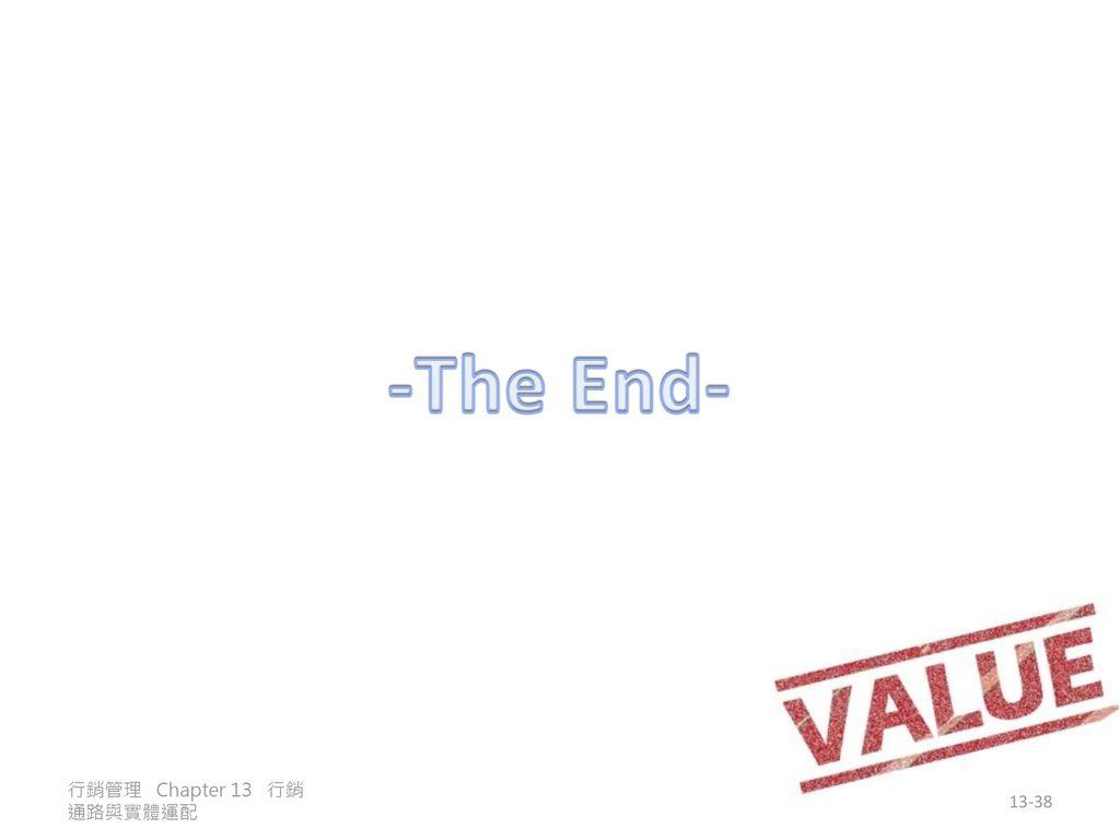 -The End- 行銷管理 Chapter 13 行銷通路與實體運配