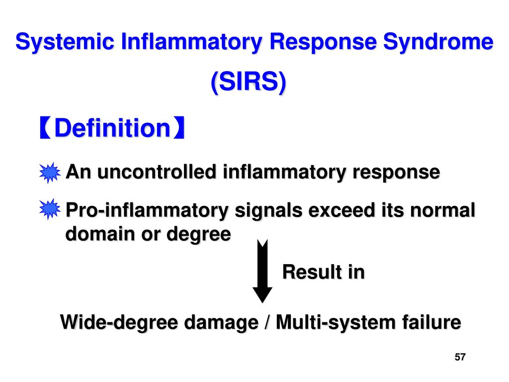 organ dysfunction definitions of systemic inflammatory Introduction the concept of a systemic inflammatory response syndrome (sirs) to describe the complex pathophysiologic response to an insult such as infection, trauma, burns, pancreatitis, or a variety of other injuries came from an american college of chest physicians/society of critical care medicine-sponsored sepsis definitions consensus conference held in chicago, il in august 1991 1 the.
