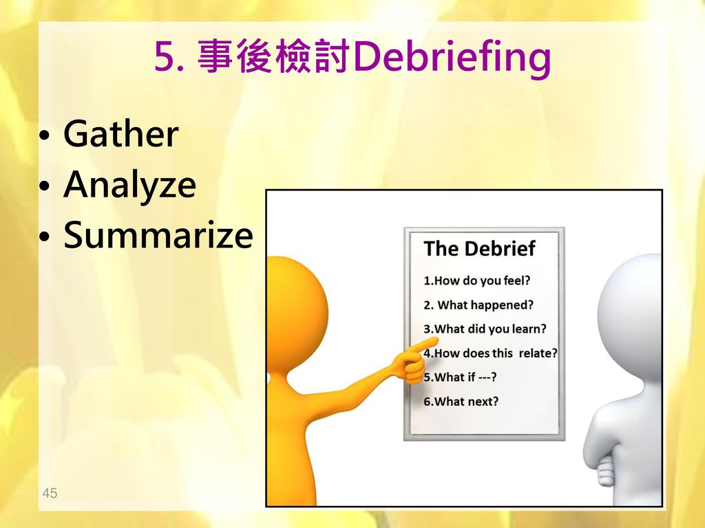 5. 事後檢討Debriefing Gather Analyze Summarize