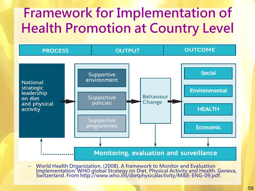 Framework for Implementation of Health Promotion at Country Level