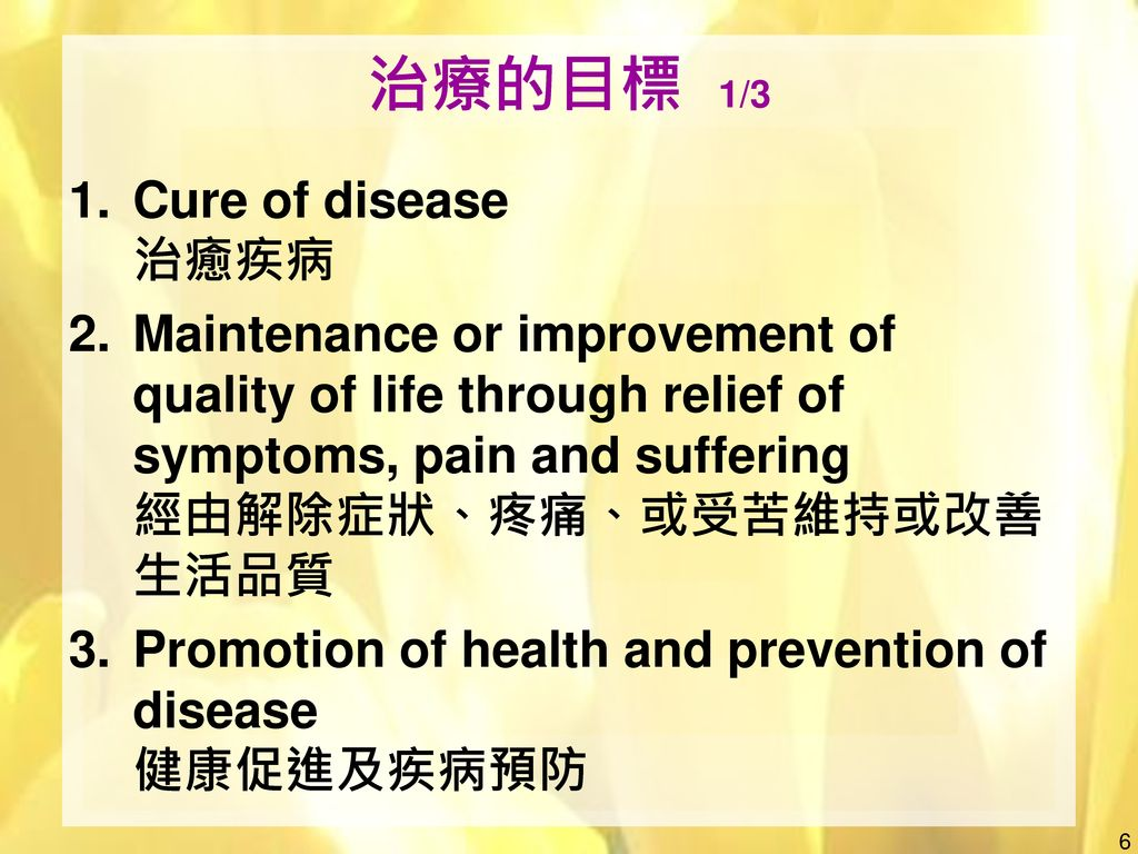 治療的目標 1/3 Cure of disease 治癒疾病