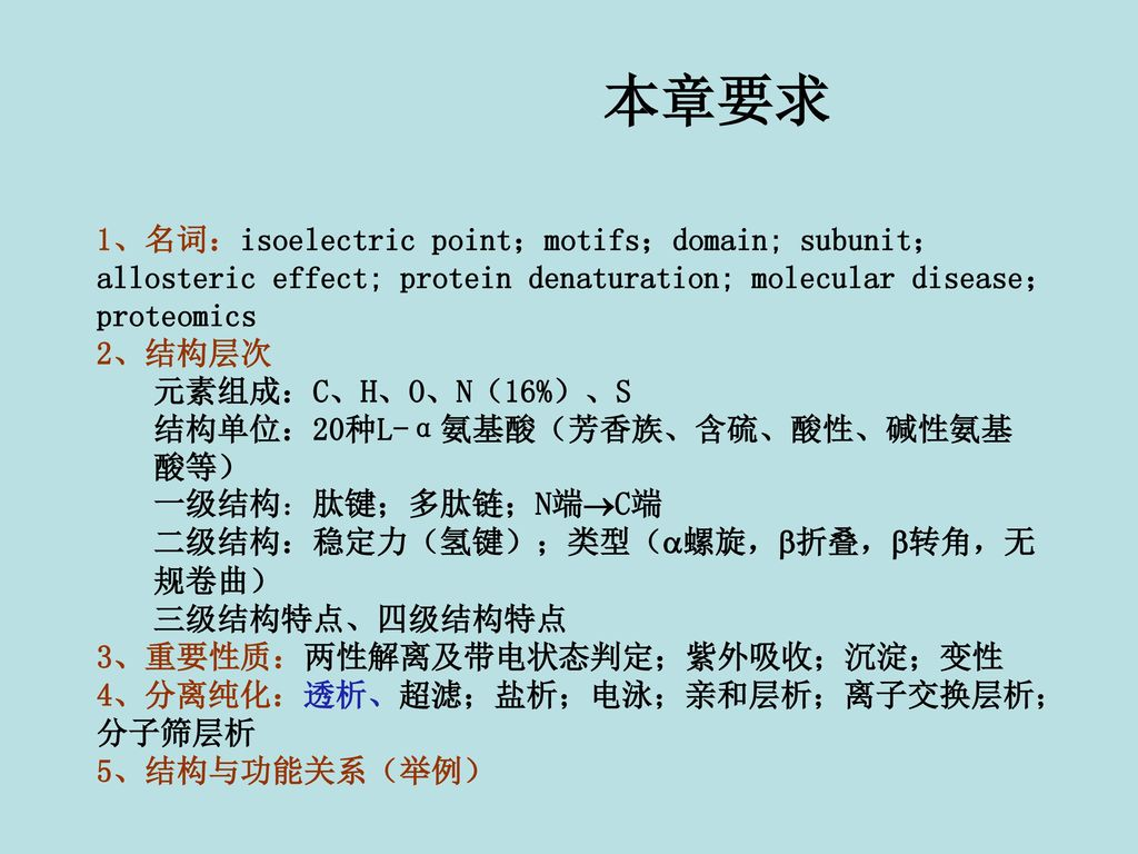 本章要求 1、名词:isoelectric point;motifs;domain; subunit;allosteric effect; protein denaturation; molecular disease;proteomics.