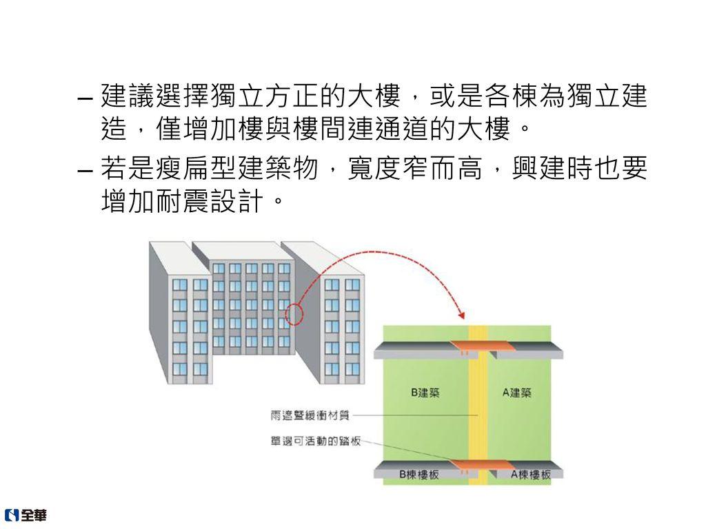 建議選擇獨立方正的大樓,或是各棟為獨立建造,僅增加樓與樓間連通道的大樓。