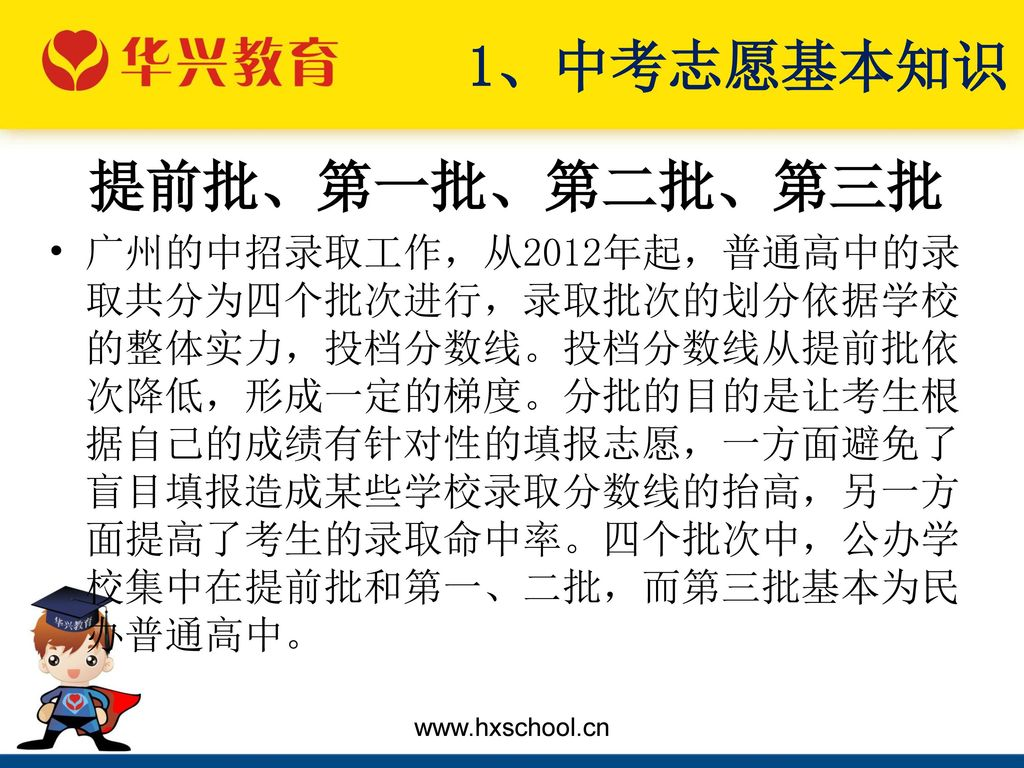 1、中考志愿基本知识 提前批、第一批、第二批、第三批