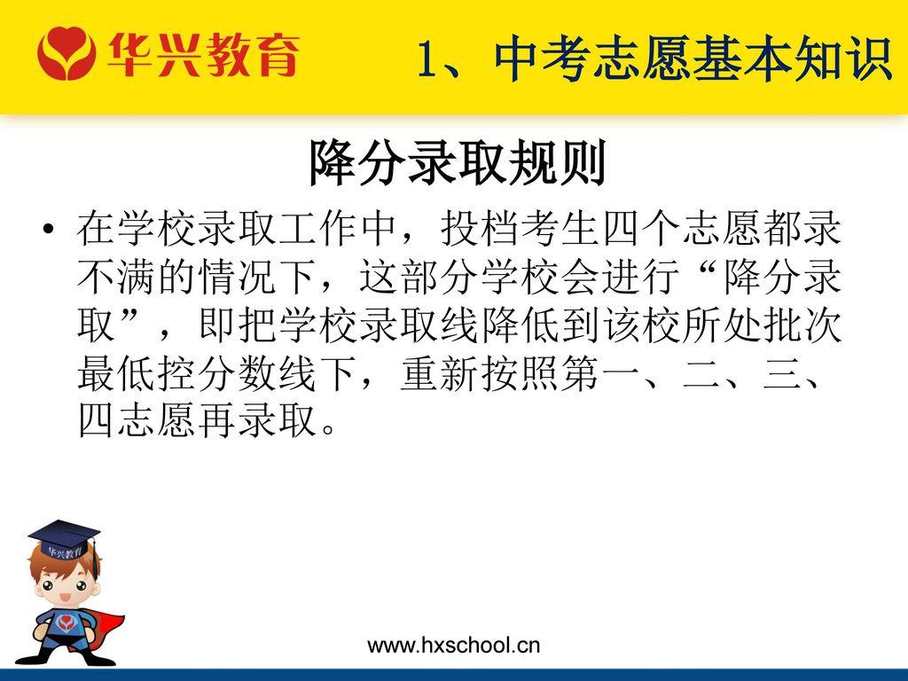 1、中考志愿基本知识 降分录取规则.