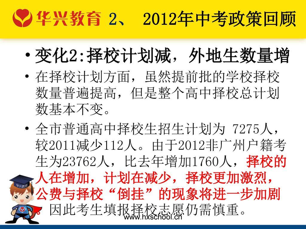 2、 2012年中考政策回顾 变化2:择校计划减,外地生数量增
