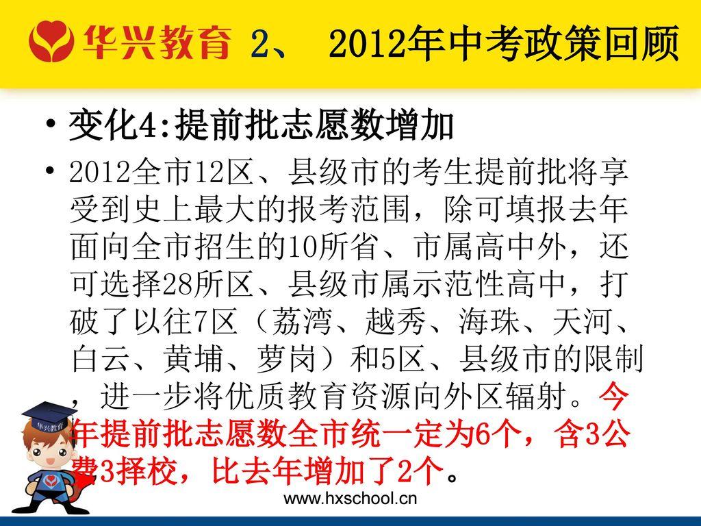 2、 2012年中考政策回顾 变化4:提前批志愿数增加.
