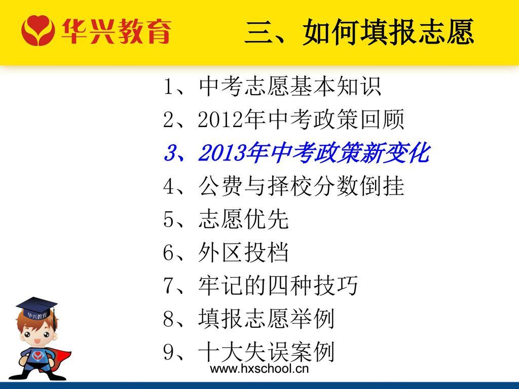 三、如何填报志愿 1、中考志愿基本知识 2、2012年中考政策回顾 3、2013年中考政策新变化 4、公费与择校分数倒挂 5、志愿优先