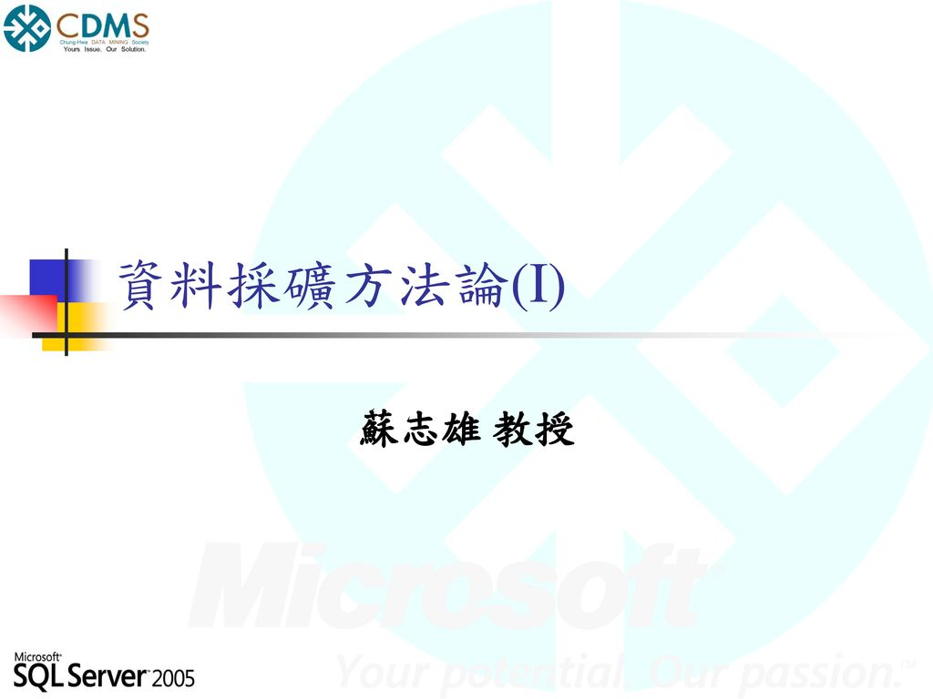 資料採礦方法論(I) 蘇志雄 教授