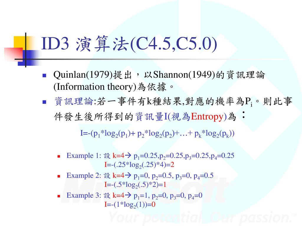ID3 演算法(C4.5,C5.0) Quinlan(1979)提出,以Shannon(1949)的資訊理論(Information theory)為依據。