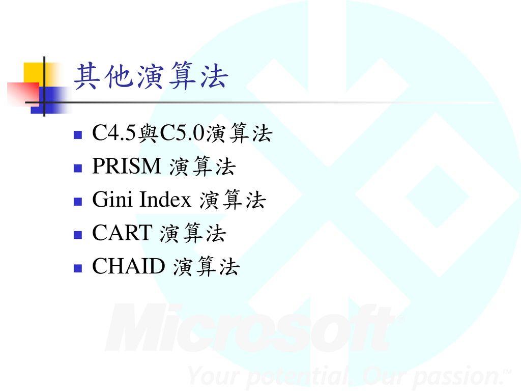 其他演算法 C4.5與C5.0演算法 PRISM 演算法 Gini Index 演算法 CART 演算法 CHAID 演算法