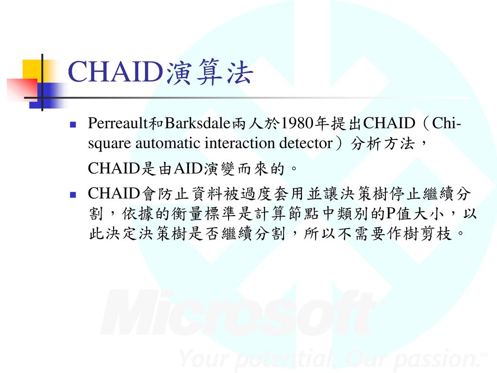 CHAID演算法 Perreault和Barksdale兩人於1980年提出CHAID(Chi-square automatic interaction detector)分析方法,CHAID是由AID演變而來的。