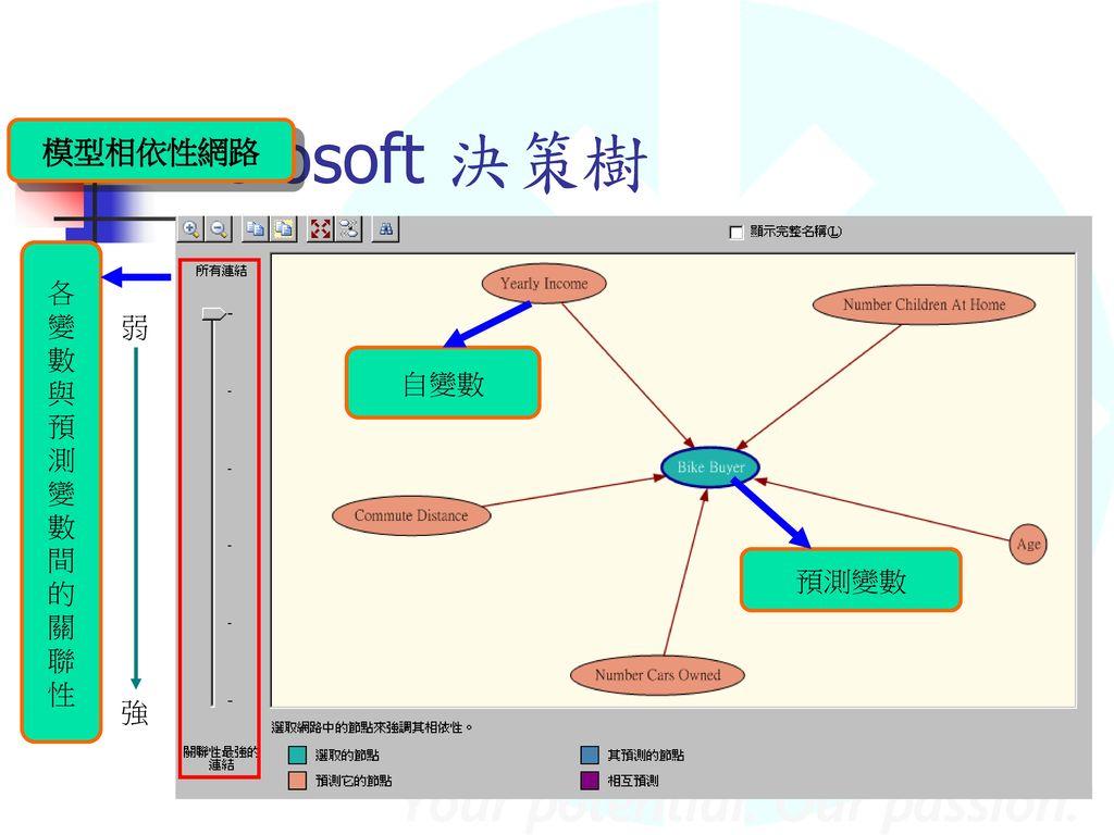 Microsoft 決策樹 模型相依性網路 各變數與預測變數間的關聯性 弱 強 預測變數 自變數
