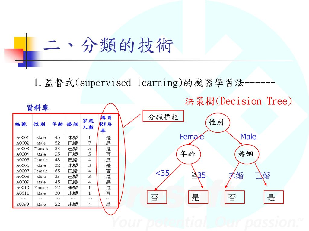 二、分類的技術 1.監督式(supervised learning)的機器學習法------ 決策樹(Decision Tree) 資料庫