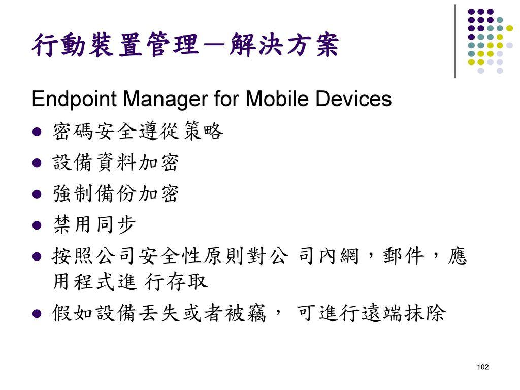 行動裝置管理-解決方案 Endpoint Manager for Mobile Devices 密碼安全遵從策略 設備資料加密 強制備份加密